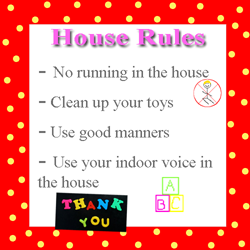 Examples of house rules for toddlers
